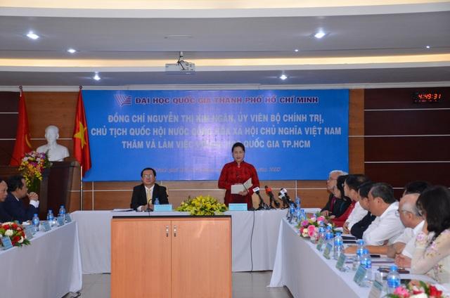 Chủ tịch Quốc hội Nguyễn Thị Kim Ngân làm việc với ĐH Quốc gia TPHCM chiều ngày 4/8.