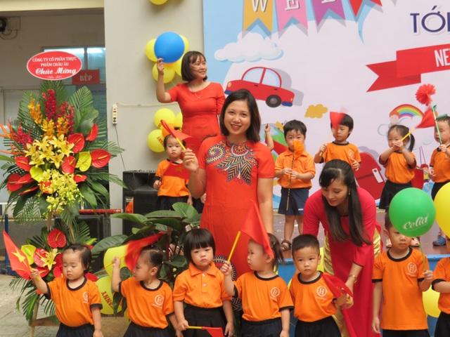 Cô và trò trường mầm non song ngữ Hoa Trà My- Cơ sở 1 tại Hà Nội tươi vui và phấn khởi trong Lễ Khai giảng