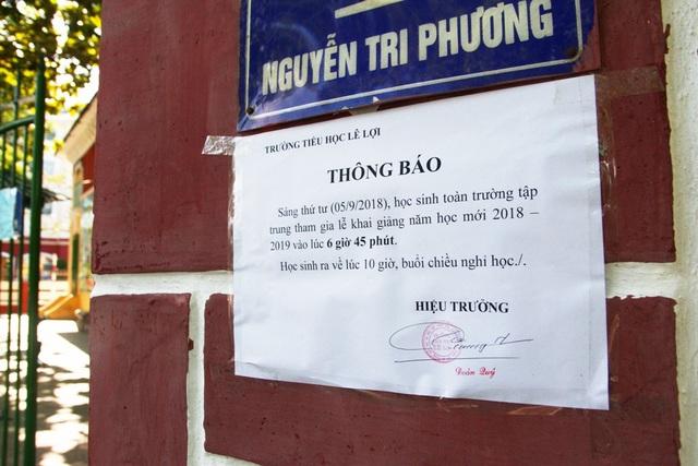 Thông báo nghỉ học chiều 5/9 ở trường tiểu học Lê Lợi