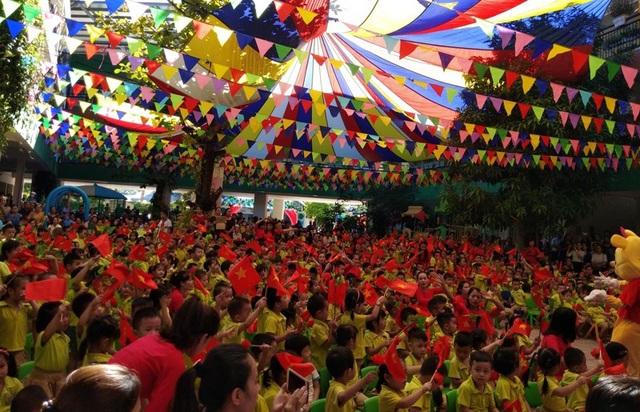 Buổi lễ khai giảng tại Trường mầm non Trí Đức (phường Nam Hà, TP Hà Tĩnh). (Ảnh: Văn Dũng)