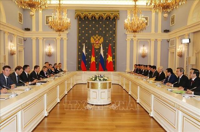 Tổng Bí thư Nguyễn Phú Trọng hội kiến với Thủ tướng Liên bang Nga D. Medvedev. Ảnh: Trí Dũng/TTXVN