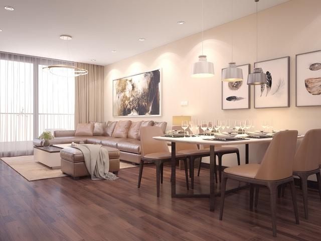 Phòng khách căn hộ mẫu với thiết kế sang trọng, hài hòa