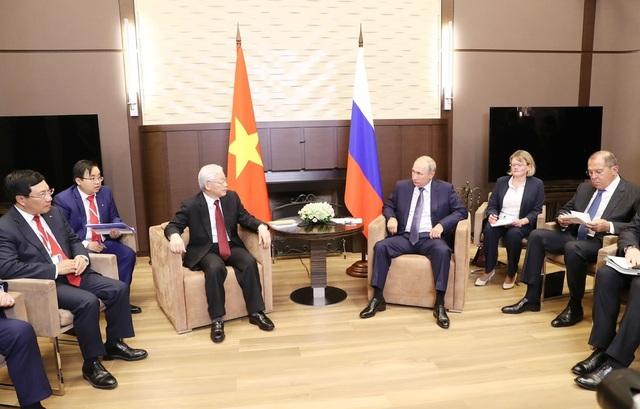 Tổng Bí thư Nguyễn Phú Trọng hội đàm với Tổng thống Liên bang Nga Vladimir Putin. Ảnh: Trí Dũng- TTXVN