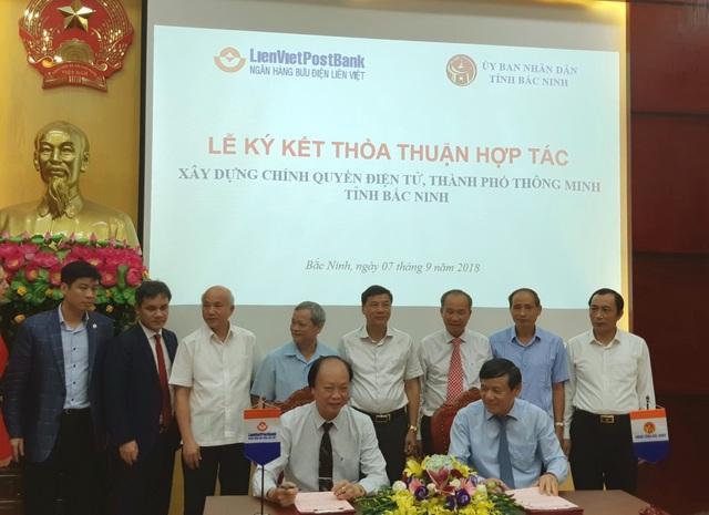 Hôm nay 7/9, Ngân hàng Bưu điện Liên Việt (LienVietPostBank) ký kết Thảo thuận hợp tác với Ủy ban Nhân dân tỉnh Bắc Ninh trong việc xây dựng chính quyền điện tử và thành phố thông minh trên địa bàn tỉnh Bắc Ninh.