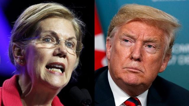 Thượng nghị sĩ Elizabeth Warren và Tổng thống Donald Trump (Ảnh: Fox)