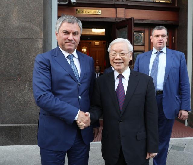 Tổng Bí thư Nguyễn Phú Trọng hội kiến với Chủ tịch Duma Quốc gia Nga Vyacheslav Volodin