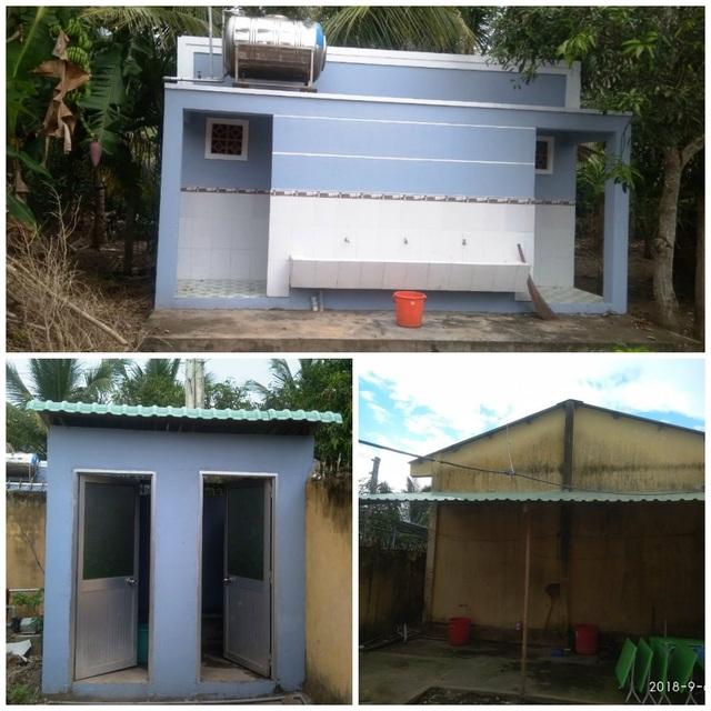 Từ số tiền bạn đọc hỗ trợ và nhóm Sen Hồng An Giang, địa phương đã xây dựng và sửa lại khu nhà vệ sinh cho các cháu trường mầm non Ninh Thới được khang trang hơn