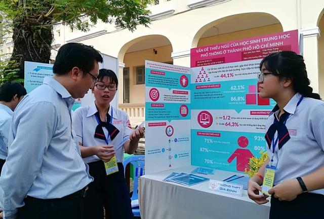 Thùy Trang và Khánh Vy trình bày đề tài nghiên cứu về vấn đề thiếu ngủ của học sinh TPHCM