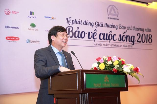 Nhà báo Hồ Quang Lợi, Phó Chủ tịch thường trực Hội Nhà báo Việt Nam, phát biểu tại buổi họp báo.