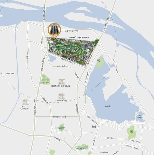 Vị trí đắc địa, các căn hộ SunShine City có tầm nhìn đẹp ra hồ Tây và sông Hồng