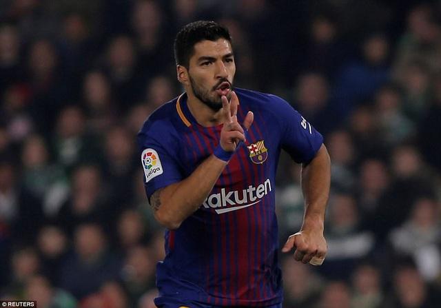 Luis Suarez lập cú đúp giúp Barcelona thắng Betis 5-0
