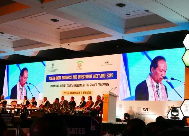 Thứ trưởng Bộ Công Thương Cao Quốc Hưng phát biểu tại Hội nghị kết nối kinh doanh và đầu tư ASEAN - Ấn Độ chiều ngày 22/1