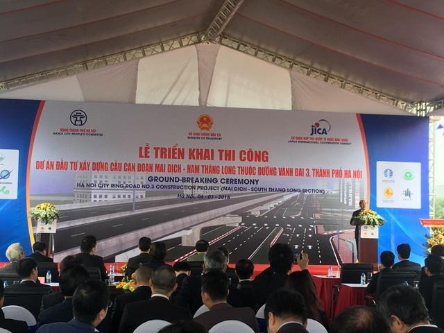 Dự án cầu cạn cao tốc Mai Dịch - Nam Thăng Long bắt đầu được triển khai từ hôm nay (6/1)