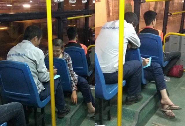 Hình ảnh về người phụ xe giải toán cho cậu bé đổi vé xe buýt gây xúc động người xem (Ảnh: NEU Confession)