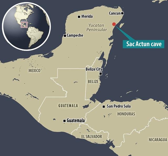 Địa điểm tìm thấy hang Sac Actun trên bản đồ