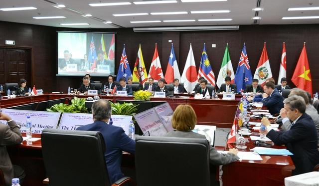 Các bộ trưởng từ 11 nước thành viên thông qua việc đổi tên TPP thành CPTPP tháng 11/2017 tại Việt Nam. (Ảnh: Kyodo)