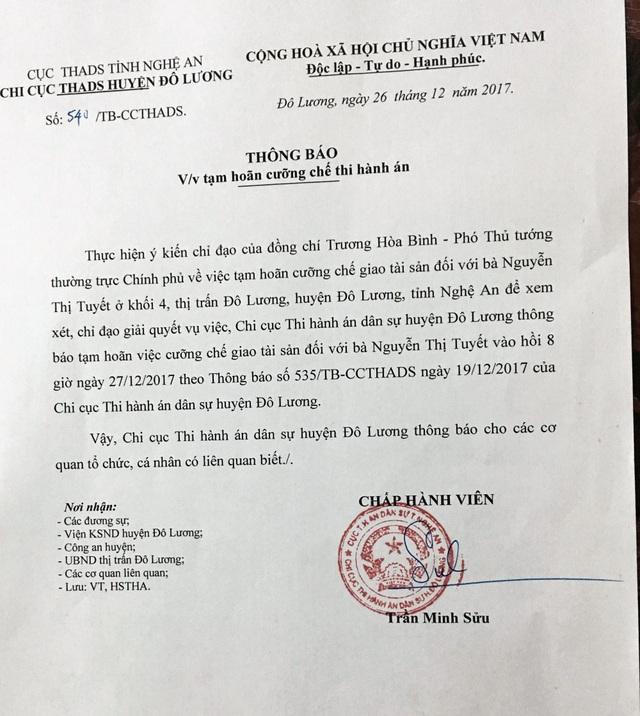 Sự việc đã trải qua nhiều lần hoãn cưỡng chế nhưng Chi cục thi hành án huyện Đô Lương vẫn không giải quyết rõ ràng.