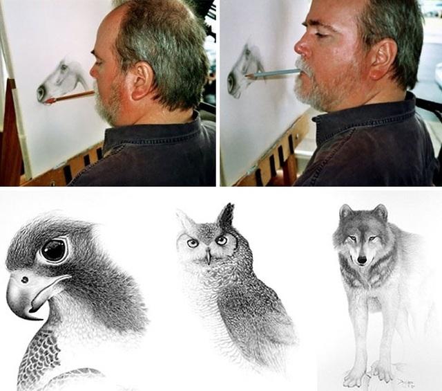 Sau một tai nạn khủng khiếp ở thời trung học, Doug Landis đã bị liệt hoàn toàn các bộ phận trên cơ thể từ cổ trở xuống. Tuy nhiên, chỉ với phần đầu, niềm đam mê hội họa cũng như nghị lực phi thường, Landis đã khiến cả thế giới phải ngả mũ kính phục.