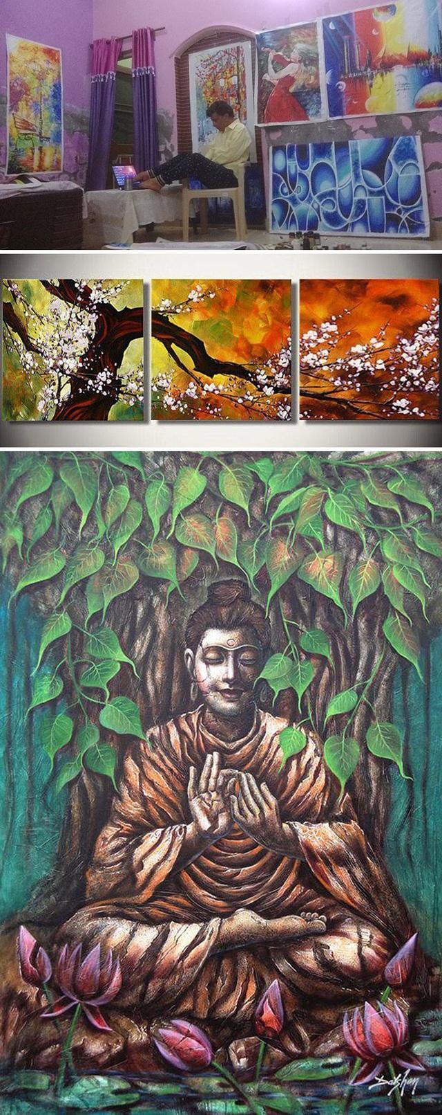 Dù chỉ có thể cầm cọ bằng đôi chân, Uttam Kumar Bhardwaj vẫn có thể tạo ra những tuyệt tác khiến cả các họa sĩ khỏe mạnh phải nể phục. Được biết, trong sự nghiệp của mình, người đàn ông khuyết tật này đã giành được đến 33 giải thưởng danh giá của lĩnh vực hội họa.