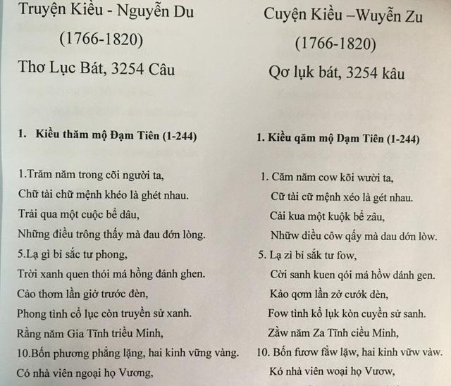 """Trích đoạn Truyện Kiều bằng """"Tiếq Việt""""."""