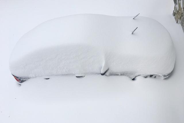 Tuyết rơi dày đặc cũng gây trở ngại cho sinh hoạt của người dân Mỹ. Trong ảnh: Một xe hơi bị vùi trong tuyết ở Virginia hôm 23/1. (Ảnh: Reuters)