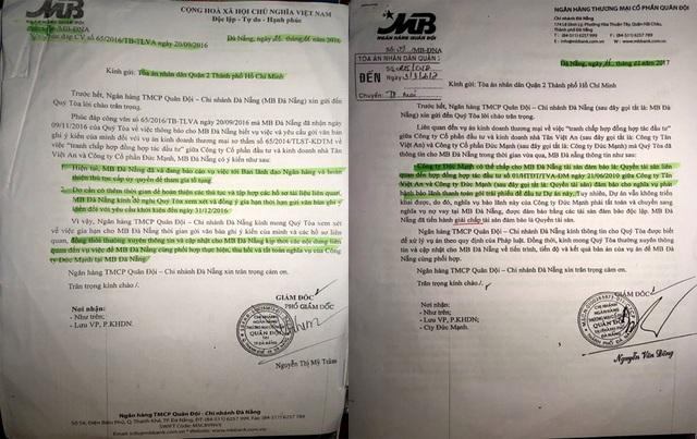 Ngân hàng MB Đà Nẵng đã gửi đi Công văn ác nhận Công ty Đức Mạnh từng lấy 2 lô chung cư C1, C2 đem đi thế chấp tại ngân hàng này.