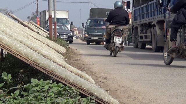 Trên đường đê sống Đấy, nơi thường xuyên mù mịt bụi do xe cộ qua lại tấp nập, hàng tấn miến cũng được phơi dọc hai bên đường.