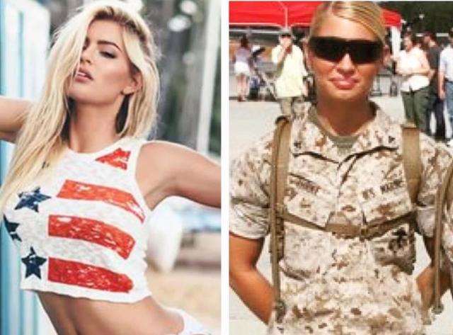 Hình ảnh của Shannon Ihrke khi còn là quân nhân và khi trở thành người mẫu (Ảnh: Sun)