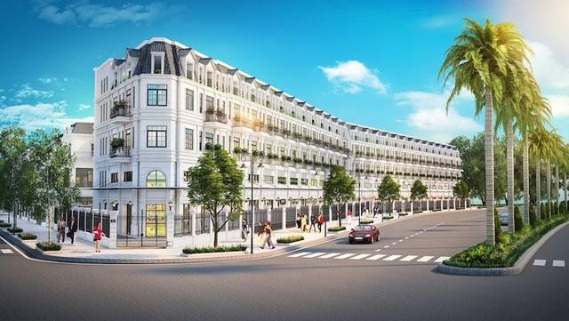 Khu nhà phố thương mại(shophouse) nằm ngay mặt tiền đường Đồng Văn Cống, thuận lợi cho hoạt động kinh doanh tại khu vực