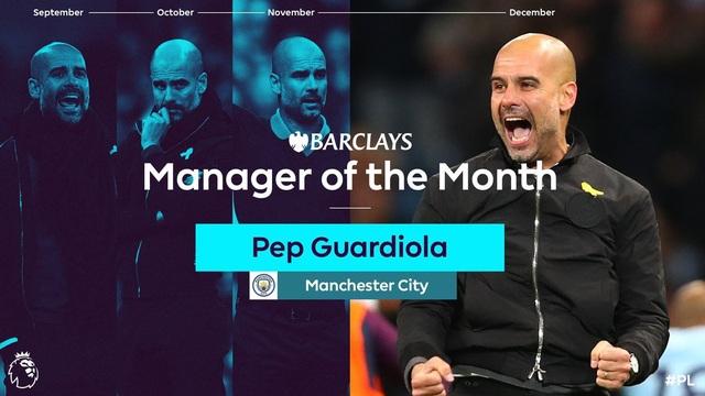 HLV Pep Guardiola giành giải HLV xuất sắc nhất tháng ở Premier League lần thứ 4 liên tiếp