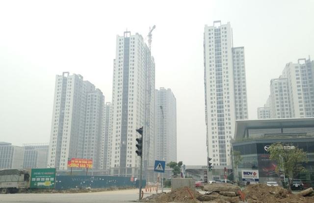 Hàng nghìn căn hộ dọc tuyến dường Mai Dịch - Nam Thăng Long (Ảnh: Tuấn Linh)