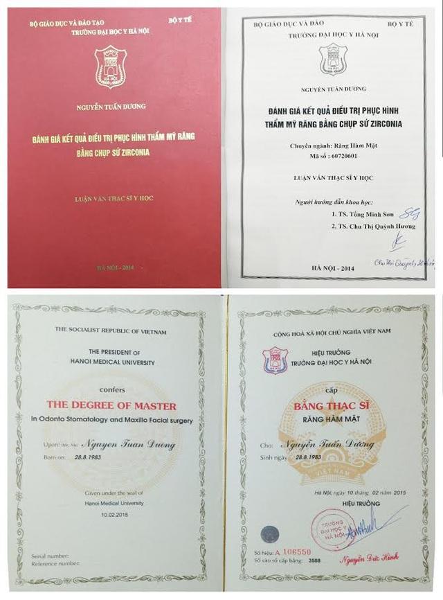 Bằng Thạc sĩ với đề tài Phục Hình Răng Thẩm Mỹ Toàn Sứ được cấp bởi Đại học Y Hà Nội