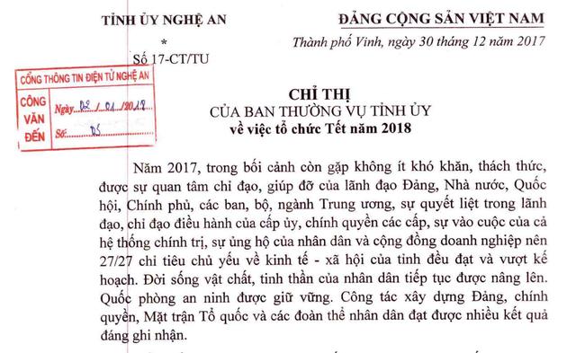 Ngày 30/12/2017, ông Nguyễn Đắc Vinh - Bí thư Tỉnh ủy Nghệ An đã ban hành Chỉ thị 17-CT/TU ngày 30/12/2017 về việc tổ chức Tết năm 2018.