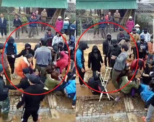 Hàng chục đối tượng bịt kín mặt vào công trường xô xát với người dân tại công trường thi công cầu Hải Thượng Lãn Ông, xã Sơn Quang, huyện Hương Sơn sáng ngày 26/12 (Ảnh cắt từ Clip).