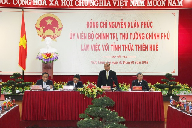 Thủ tướng Nguyễn Xuân Phúc phát biểu chỉ đạo và đồng ý về mặt chủ trương đối với nhiều kiến nghị của tỉnh Thừa Thiên Huế