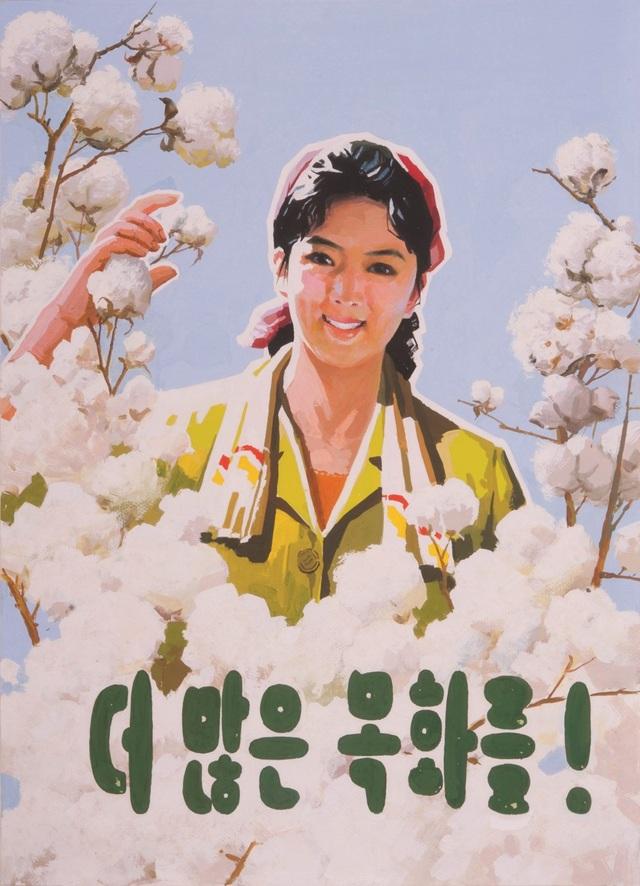 Áp phích của Triều Tiên với khẩu hiệu Trồng thêm nhiều bông! (Ảnh: SCMP)