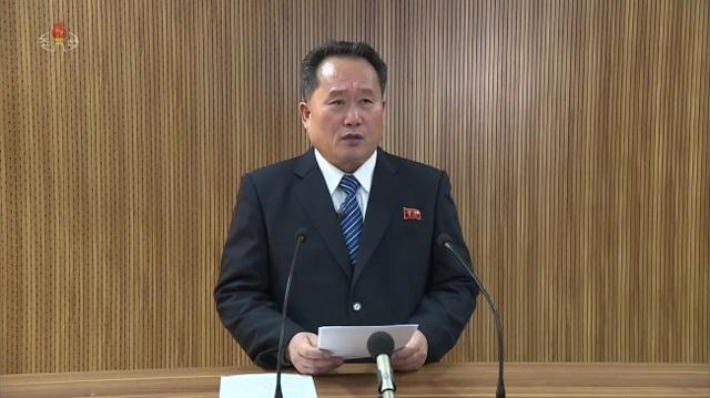 Ông Ri Son-gwon phát biểu trên kênh truyền hình KCT hôm 3/1 (Ảnh: Yonhap)