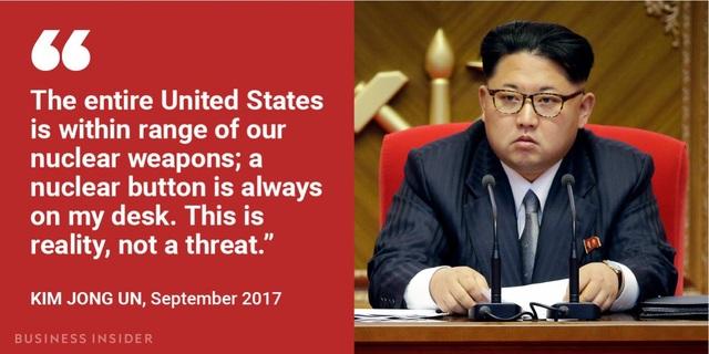 """""""Toàn bộ nước Mỹ nằm trong tầm tấn công của các vũ khí hạt nhân của chúng tôi, một nút bấm hạt nhân luôn luôn nằm trên bàn làm việc của tôi. Đây là thực tế, không phải là một lời dọa nạt"""", ông Kim Jong-un nhấn mạnh trong bài phát biểu nhân dịp năm mới 2018."""
