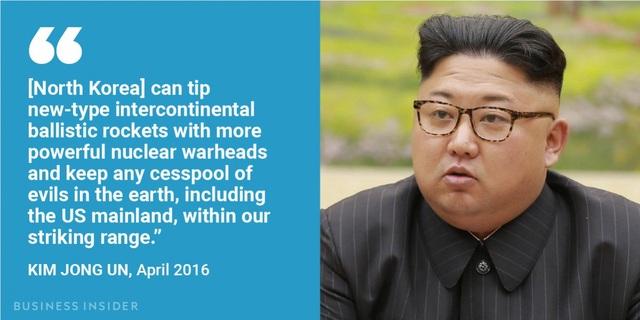 """""""Triều Tiên có thể gắn nhiều đầu đạn hạt nhân uy lực hơn nữa lên các tên lửa đạn đạo liên lục địa đời mới và đặt bất kỳ nơi độc ác nào trên trái đất, bao gồm lục địa Mỹ, vào tầm tấn công của chúng tôi"""", nhà lãnh đạo Triều Tiên phát biểu hồi tháng 4/2016, khẳng định uy lực hạt nhân của Bình Nhưỡng."""