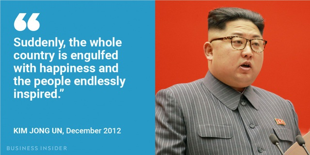 """Nhằm ca ngợi các vụ phóng tên lửa giúp khích lệ tinh thần của người Triều Tiên, vào tháng 12/2012, nhà lãnh đạo Kim Jong-un nói: """"Đột nhiên, toàn bộ đất nước ngập tràn trong niềm hạnh phúc và mọi người thấy phấn khích vô tận""""."""