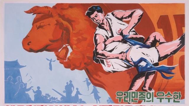 Áp phích cổ động hoạt động thể thao tại Triều Tiên (Ảnh: SCMP)