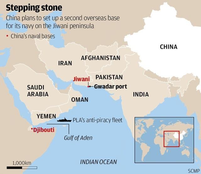 Bản đồ khu vực Gwadar của Pakistan (Ảnh: SCMP)