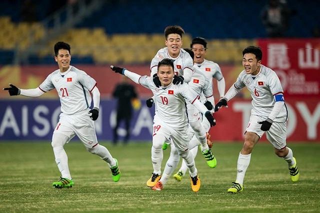 Niềm vui chiến thắng của các cầu thủ U23 Việt Nam (ảnh: VTV)