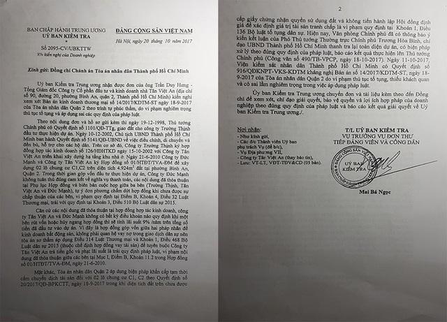 Ủy Ban kiểm tra Trung ương đã có Văn bản chuyển đơn và tài liệu kèm theo đến Chánh án TAND TP.HCM để xem xét, chỉ đạo giải quyết.