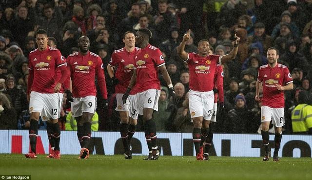 Các cầu thủ MU ăn mừng bàn thắng mở tỉ số từ sớm của Valencia