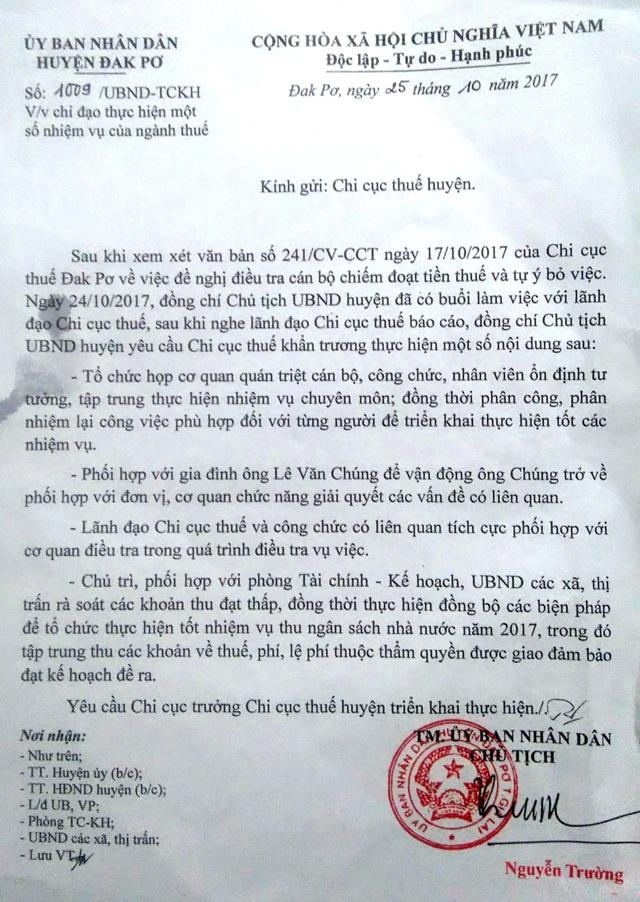 Văn bản chỉ đạo của Chủ tịch huyện Đak Pơ