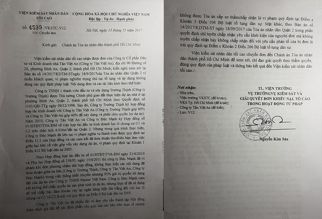 Văn bản của Viện KSND Tối cao cũng nêu rõ nội dung thể hiện trong đơn của Công ty Tân Việt An.