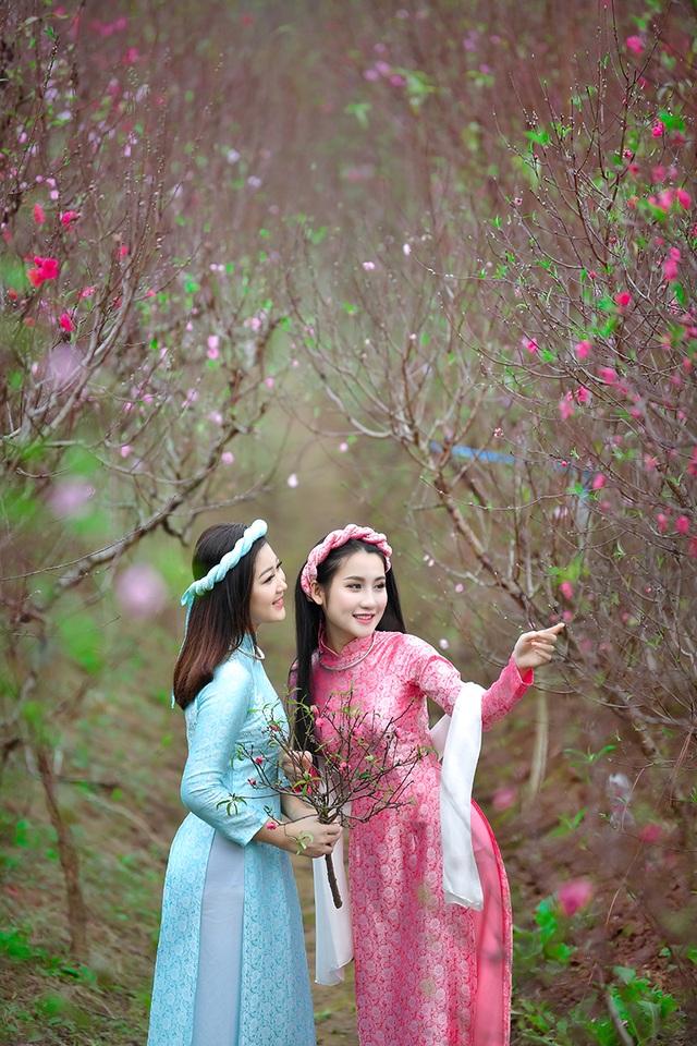Rộn rịp thiếu nữ xinh đẹp chụp ảnh vườn đào đón Tết - 5