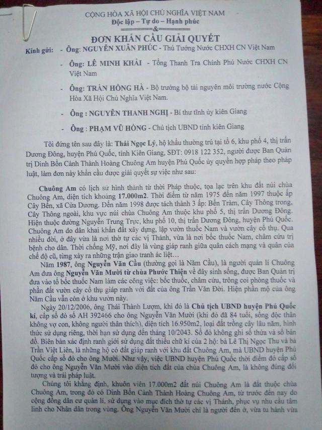 """Chủ tịch tỉnh Kiên Giang chỉ đạo làm rõ nghi án """"xẻo"""" gần 17.000m2 đất chùa ở Phú Quốc - 1"""