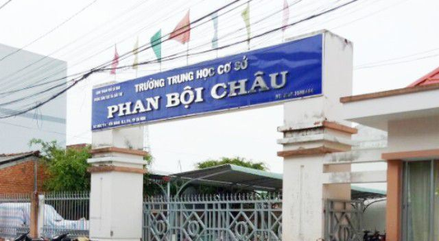 Trường THCS Phan Bội Châu (TP Cà Mau, tỉnh Cà Mau), nơi có Hiệu trưởng từng bị giáng chức vì sai phạm. (Ảnh: CTV)